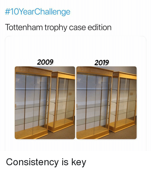 Consistency:  #10YearChallenge  Tottenham trophy case edition  2009  2019 Consistency is key