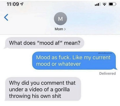 "gorilla: 11:09  Mom  What does ""mood af"" mean?  aheckoff  Mood as fuck. Like my current  mood or whatever  Delivered  Why did you comment that  under a video of a gorilla  throwing his own shit"