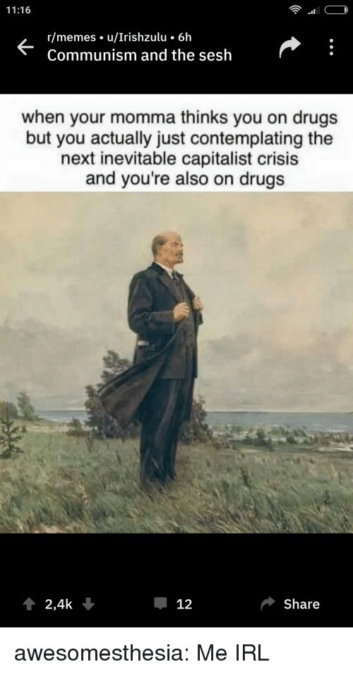 Drugs, Memes, and Tumblr: 11:16  r/memes u/Irishzulu 6h  Communism and the sesh  when your momma thinks you on drugs  but you actually just contemplating the  next inevitable capitalist crisis  and you're also on drugs  2,4k  Џ 12  Share awesomesthesia:  Me IRL