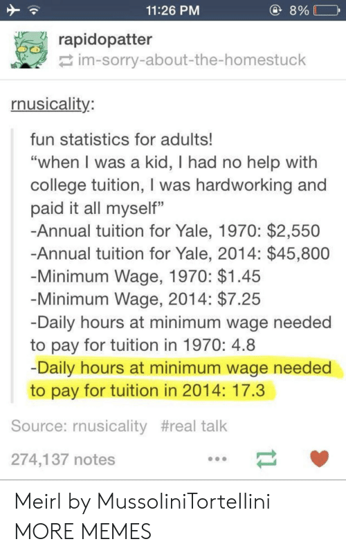 """Annually: 11:26 PM  8%  rapidopatter  im-sorry-about-the-homestuck  rnusicality  fun statistics for adults!  """"when l was a kid, I had no help with  college tuition, I was hardworking and  paid it all myself""""  -Annual tuition for Yale, 1970: $2,550  Annual tuition for Yale, 2014: $45,800  Minimum Wage, 1970: $1.45  Minimum Wage, 2014: $7.25  Daily hours at minimum wage needed  to pay for tuition in 1970: 4.8  Daily hours at minimum wage needed  to pay for tuition in 2014: 17.3  Source: rnusicality #real talk  274,137 notes Meirl by MussoIiniTorteIIini MORE MEMES"""
