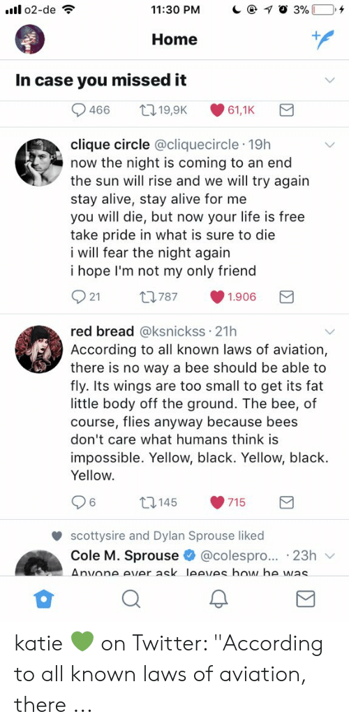 """Alive, Clique, and Life: 11:30 PM  Home  In case you missed it  clique circle @cliquecircle 19h  now the night is coming to an end  the sun will rise and we will try again  stay alive, stay alive for me  you will die, but now your life is free  take pride in what is sure to die  i will fear the night again  i hope I'm not my only friendd  921 t787 1.906  red bread @ksnickss 21h  According to all known laws of aviation,  there is no way a bee should be able to  fly. Its wings are too small to get its fat  little body off the ground. The bee, of  course, flies anyway because bees  don't care what humans think is  impossible. Yellow, black. Yellow, black  Yellow  15 9715  6  scottysire and Dylan Sprouse liked  Cole M. Sprouse * @colespr。... . 23h ﹀ katie 💚 on Twitter: """"According to all known laws of aviation, there ..."""