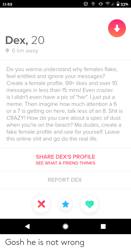 "And Over: 11:49  53%  Dex, 20  O 6 km away  Do you wanna understand why females flake,  feel entitled and ignore your messages?  Create a female profile. 99+ likes and over 10  messages in less than 15 mins! Even crazier  is I didn't even have a pic of ""her"". I just put a  meme. Then imagine how much attention a 6  or a 7 is getting on here, talk less of an 8. Shit is  CRAZY! How do you care about a spec of dust  when you're on the beach? Ma dudes, create a  fake female profile and see for yourself. Leave  this online shit and go do the real life.  SHARE DEX'S PROFILE  SEE WHAT A FRIEND THINKS  REPORT DEX Gosh he is not wrong"