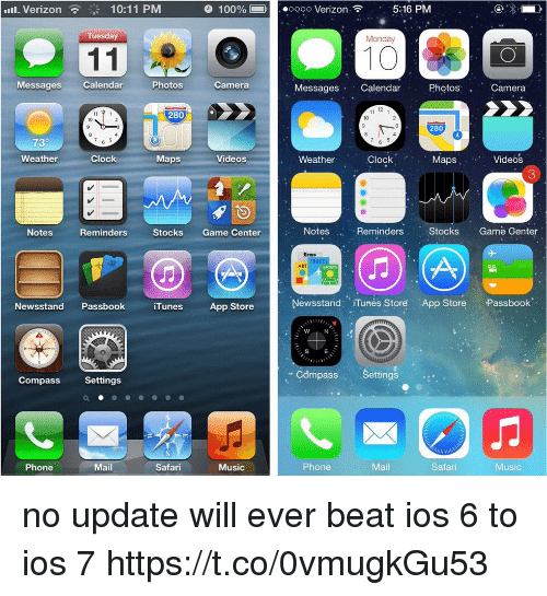 Itunes Store: 111-Verizon  10:11 PM  100%-ooo Verizon  5:16 PM  Tuesday  Monday  10  Messages Calendar  Photos  Camera  Messages Calendar  Photos  Camera  12  280  10  10  280  0  730  Clock.  '  Weather  Clock  Maps  Videos  Weather  MapsVideos  3  Notes  Reminders  Stocks Game Center  Notes  Reminders  Stocks Game Genter  Meus  ART  SPORTS  Newsstand PassbookiTunes App Store  Newsstand: iTunés Store App Store Passbook  S  E  Compass Settings  Compass Settings  Phone  Mail  Safari  Music  Phone  Mail  Safar  Music no update will ever beat ios 6 to ios 7 https://t.co/0vmugkGu53