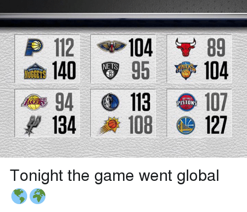 piston: 112 104  89  140  8 95 TABr  104  NUGGETS  113  PISTONS  134  108 127 Tonight the game went global 🌎🌍