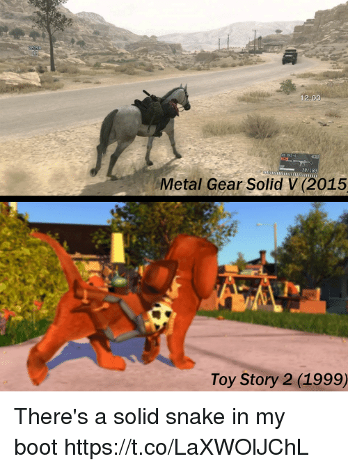 Metal Gear: 12:00  38/188  Metal Gear Solid V (2015  Toy Story 2 (1999) There's a solid snake in my boot https://t.co/LaXWOlJChL