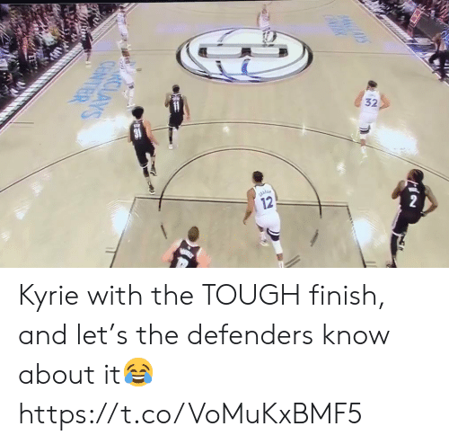 kyrie: 12  4CAYS  CENTR  nalk  CLAYS  CENTER Kyrie with the TOUGH finish, and let's the defenders know about it😂 https://t.co/VoMuKxBMF5
