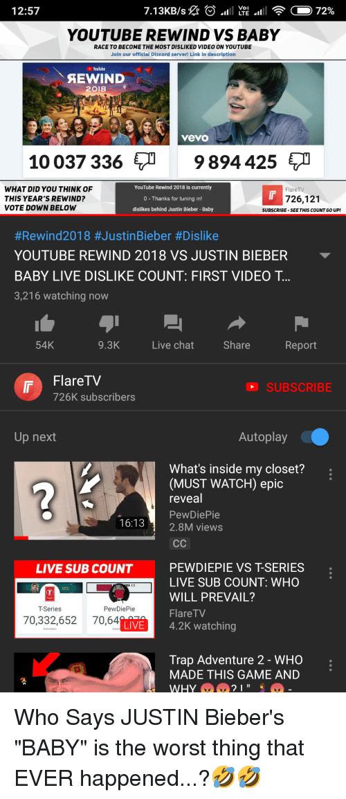 Justin Bieber, The Worst, and Trap: 12:57  YOUTUBE REWIND VS BABY  RACE TO BECOME THE MOST DISLIKED VIDEO ON YOUTUBE  Join our official Discord server! Link in description  YouTube  EWIND  2018  vevo  10 037 336  9894 425  WHAT DID YOU THINK OF  THIS YEAR'S REWIND?  VOTE DOWN BELOW  YouTube Rewind 2018 is currently  0 - Thanks for tuning in  dislikes behind Justin Bieber- Baby  FlareTV  726,121  SUBSCRIBE -SEE THIS COUNT GO UP!  #Rewind2018 #JustinBieber #Dislike  YOUTUBE REWIND 2018 VS JUSTIN BIEBER  BABY LIVE DISLIKE COUNT: FIRST VIDEO T  3,216 watching now  54K  9.3K  Live chat  Share  Report  r FlareTV  SUBSCRIBE  726K subscribers  Up next  Autoplay  What's inside my closet?  (MUST WATCH) epic  reveal  PewDiePie  16:13 2.8M views  PEWDIEPIE VS T-SERIES  LIVE SUB COUNT: WHO  WILL PREVAIL?  FlareTV  LIVE SUB COUNT  ARs  T-Series  PewDiePie  70,332,652 70,64  LIVE 4.2K watching  Trap Adventure 2 - WHO  MADE THIS GAME AND
