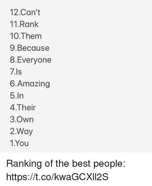 Memes, Best, and Amazing: 12.Can't  11.Rank  10.Them  9.Because  8.Everyone  7.Is  6.Amazing  5.In  4.Their  3.Own  2.Way  1.You Ranking of the best people: https://t.co/kwaGCXll2S