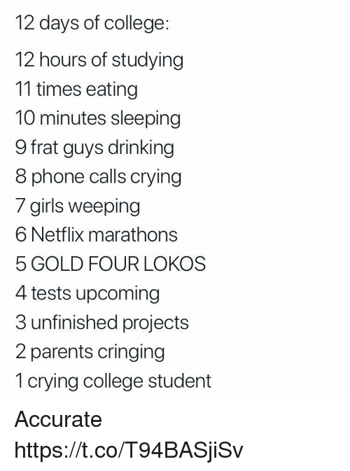 Cringing: 12 days of college  12 hours of studying  11 times eating  10 minutes sleeping  9 frat guys drinking  8 phone calls crying  / girils weeping  6 Netflix marathons  5 GOLD FOUR LOKOS  4 tests upcoming  3 unfinished projects  2 parents cringing  1 crying college student Accurate https://t.co/T94BASjiSv