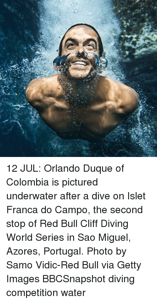 Miguels: 12 JUL: Orlando Duque of Colombia is pictured underwater after a dive on Islet Franca do Campo, the second stop of Red Bull Cliff Diving World Series in Sao Miguel, Azores, Portugal. Photo by Samo Vidic-Red Bull via Getty Images BBCSnapshot diving competition water
