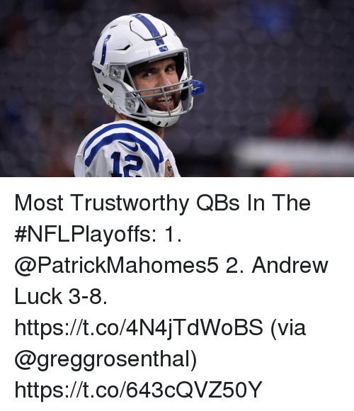 Andrew Luck: 12 Most Trustworthy QBs In The #NFLPlayoffs:  1. @PatrickMahomes5  2. Andrew Luck 3-8. https://t.co/4N4jTdWoBS (via @greggrosenthal) https://t.co/643cQVZ50Y