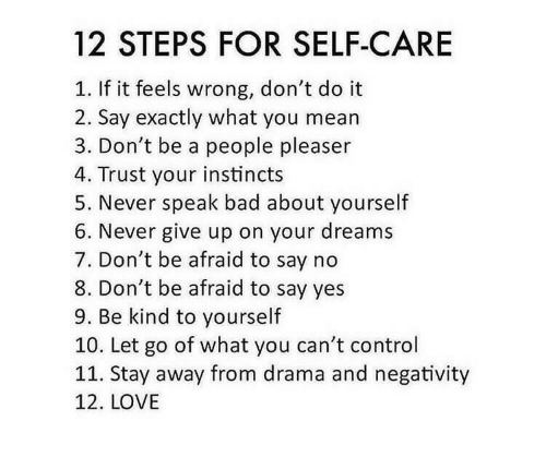 never give up: 12 STEPS FOR SELF-CARE  If it feels wrong, don't do it  2. Say exactly what you mean  3. Don't be a people pleaser  4. Trust your instincts  5. Never speak bad about yourself  6. Never give up on your dreams  7. Don't be afraid to say no  8. Don't be afraid to say yes  9. Be kind to yourself  10. Let go of what you can't control  11. Stay away from drama and negativity  12. LOVE