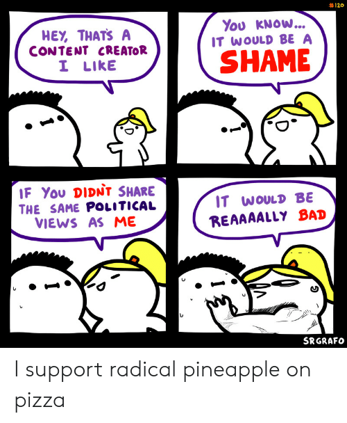 Bad, Pizza, and Pineapple: 120  You KNOW...  IT WOULD BE A  HEY, THATS A  CONTENT CREATOR  I LIKE  SHAME  IF You DIDNt SHARE  IT WOULD BE  THE SAME POLITICAL  VIEWS AS ME  REAAAALLY BAD  SRGRAFO I support radical pineapple on pizza