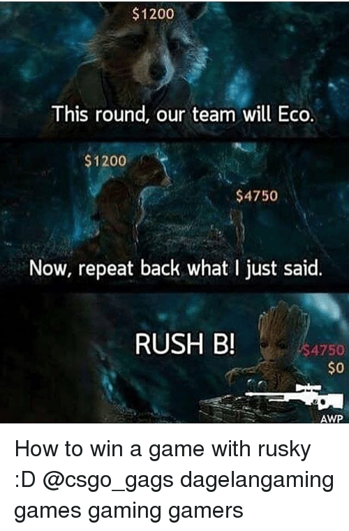 Awp: $1200  This round, our team will Eco.  1200  $4750  Now, repeat back what l just said.  RUSH B!  4750  $0  AWP How to win a game with rusky :D @csgo_gags dagelangaming games gaming gamers