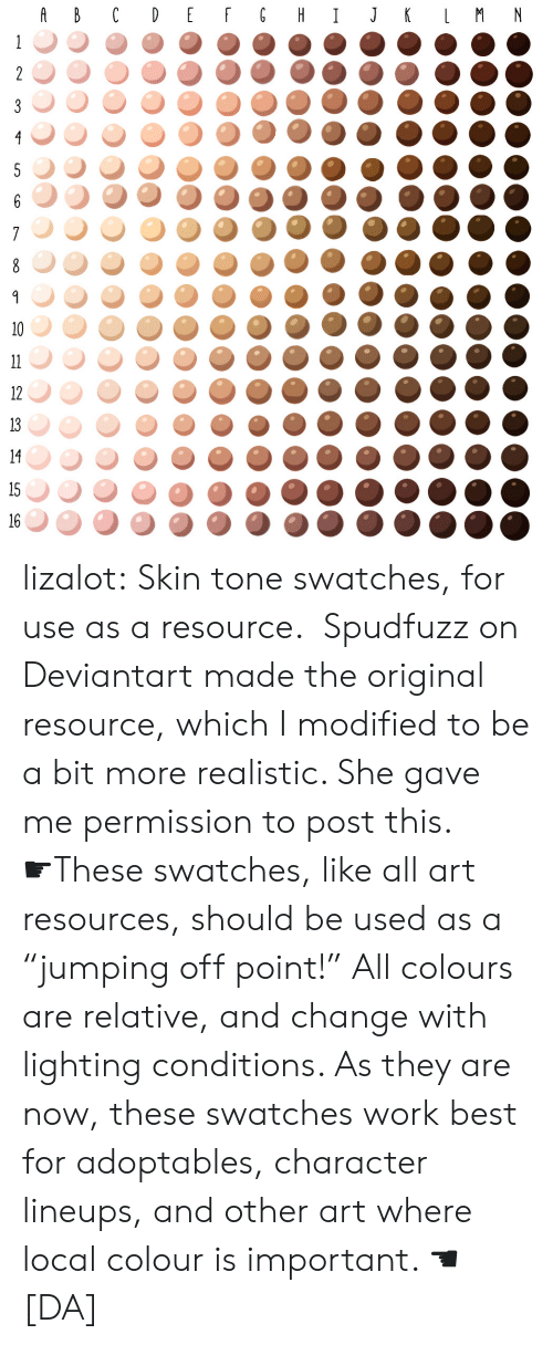 "Target, Tumblr, and Work: 1234567890123156 lizalot:  Skin tone swatches, for use as a resource.    Spudfuzz on Deviantart made the original resource, which I modified to be a bit more realistic. She gave me permission to post this. ☛These swatches, like all art resources, should be used as a ""jumping off point!"" All colours are relative, and change with lighting conditions. As they are now, these swatches work best for adoptables, character lineups, and other art where local colour is important. ☚ [DA]"
