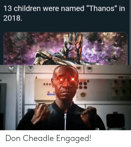 "Children, Thanos, and Don Cheadle: 13 children were named ""Thanos"" in  2018 Don Cheadle Engaged!"