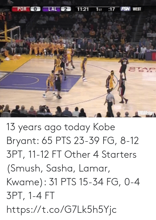 Kobe: 13 years ago today  Kobe Bryant: 65 PTS 23-39 FG, 8-12 3PT, 11-12 FT  Other 4 Starters (Smush, Sasha, Lamar, Kwame): 31 PTS 15-34 FG, 0-4 3PT, 1-4 FT   https://t.co/G7Lk5h5Yjc