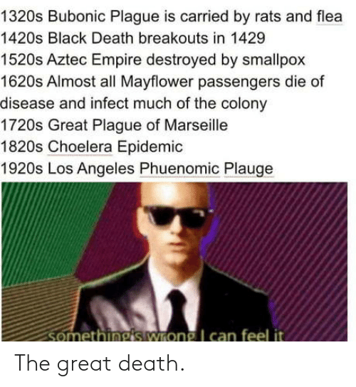 great: 1320s Bubonic Plague is carried by rats and flea  1420s Black Death breakouts in 1429  1520s Aztec Empire destroyed by smallpox  1620s Almost all Mayflower passengers die of  disease and infect much of the colony  1720s Great Plague of Marseille  1820s Choelera Epidemic  1920s Los Angeles Phuenomic Plauge  somethings wrong I can feel it The great death.