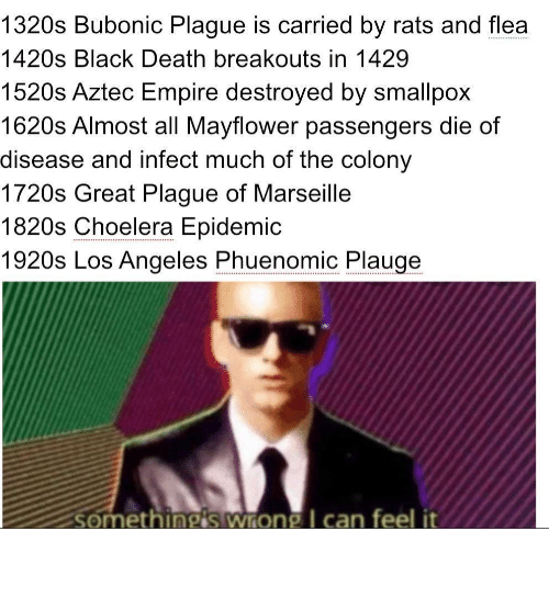 Death: 1320s Bubonic Plague is carried by rats and flea  .....  1420s Black Death breakouts in 1429  1520s Aztec Empire destroyed by smallpox  1620s Almost all Mayflower passengers die of  disease and infect much of the colony  1720s Great Plague of Marseille  1820s Choelera Epidemic  1920s Los Angeles Phuenomic Plauge  somethingis wrong I can feel it Oh boy
