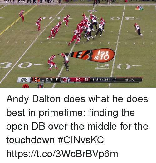 Andy Dalton: 14  2  1st  42 CIN 7  51 KC 31 3rd 11:19 11  1st & 10 Andy Dalton does what he does best in primetime: finding the open DB over the middle for the touchdown #CINvsKC https://t.co/3WcBrBVp6m