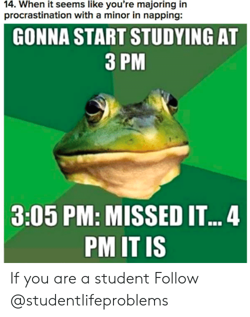 Majoring In: 14. When it seems like you're majoring in  procrastination with a minor in napping:  GONNA START STUDYING AT  3 PM  3:05 PM: MISSED IT..4  PM IT IS If you are a student Follow @studentlifeproblems
