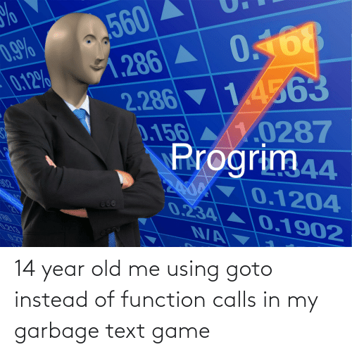 14 Year Old: 14 year old me using goto instead of function calls in my garbage text game