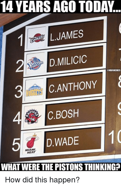 Miami Heat: 14 YEARS AGO TODA..  LJAMES  D.MILICIC  NBAMEMES  3CANTHONY  4C.BOSH  D WADE  5D.WADE 1  MIAMI  HEAT  WHAT WERE THE PISTONS THINKING? How did this happen?