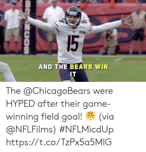 hyped: 15  AND THE BEARS WIN  IT  BRSNCOSn The @ChicagoBears were HYPED after their game-winning field goal! 😤  (via @NFLFilms) #NFLMicdUp https://t.co/TzPx5a5MIG