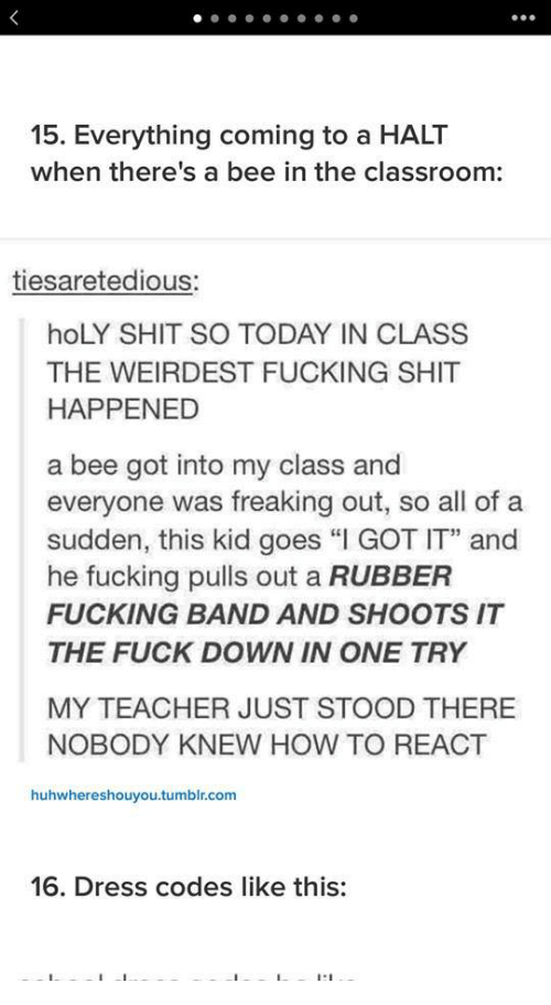 """Fucking, Shit, and Teacher: 15. Everything coming to a HALT  when there's a bee in the classroom:  tiesaretedious:  hoLY SHIT SO TODAY IN CLASS  THE WEIRDEST FUCKING SHIT  HAPPENED  a bee got into my class and  everyone was freaking out, so all of a  sudden, this kid goes """"I GOT IT"""" and  he fucking pulls out a RUBBER  FUCKING BAND AND SHOOTS IT  THE FUCK DOWN IN ONE TRY  MY TEACHER JUST STOOD THERE  NOBODY KNEW HOW TO REACT  huhwhereshouyou.tumblr.com  16. Dress codes like this:"""