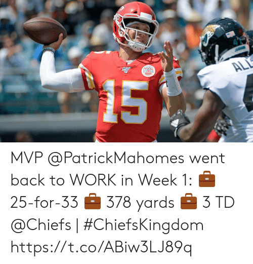 back to work: 15  JAGUARS  ALL MVP @PatrickMahomes went back to WORK in Week 1:  💼 25-for-33 💼 378 yards 💼 3 TD   @Chiefs | #ChiefsKingdom https://t.co/ABiw3LJ89q