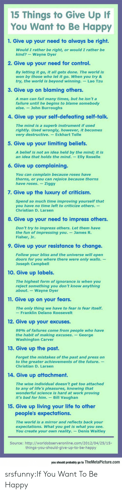 Rightly: 15 Things to Give Up If  You Want to Be Happy  1. Give up your need to always be right.  Would I rather be right, or would I rather be  kind?-Wayne Dyer  2. Give up your need for control.  By letting it go, it all gets done. The world is  won by those who let it go. When you try &  try, the world is beyond winning. Lao Tzu  3. Give up on blaming others  A man can fail many times, but he isn't a  failure until he begins to blame somebody  else.- John Burroughs  4. Give up your self-defeating self-talk.  The mind is a superb instrument if used  rightly. Used wrongly, however, it becomes  very destructive. Eckhart Tolle  5. Give up your limiting beliefs.  A belief is not an idea held by the mind; it is  an idea that holds the mind. -Elly Roselle  6. Give up complaining.  You can complain because roses have  thorns, or you can rejoice because thorns  have roses. Ziggy  7. Give up the luxury of criticism.  Spend so much time improving yourself that  you have no time left to criticize others.-  Christian D. Larsen  8. Give up your need to impress others.  Don't try to impress others. Let them have  the fun of impressing you.-James R.  Fisher, Jr.  9. Give up your resistance to change.  Follow your bliss and the universe will open  doors for you where there were only walls.-  Joseph Campbel  10. Give up labels.  The highest form of ignorance is when you  reject something you don't know anything  about.-Wayne Dyer  11. Give up on your fears.  The only thing we have to fear is fear itself.  -Franklin Delano Roosevelt  12. Give up your excuses.  99% of failures come from people who have  the habit of making excuses. -George  Washington Carver  13. Give up the past  Forget the mistakes of the past and press on  to the greater achievements of the future.  Christian D. Larsen  14. Give up attachment.  The wise individual doesn't get too attached  to any of life's pleasures, knowing that  wonderful science is hard at work proving  it's bad for him. Bill Vaughan  15. Give