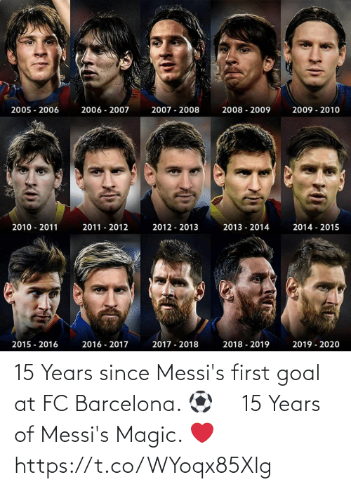 Barcelona: 15 Years since Messi's first goal at FC Barcelona. ⚽️ ⠀ 15 Years of Messi's Magic. ❤️ https://t.co/WYoqx85Xlg