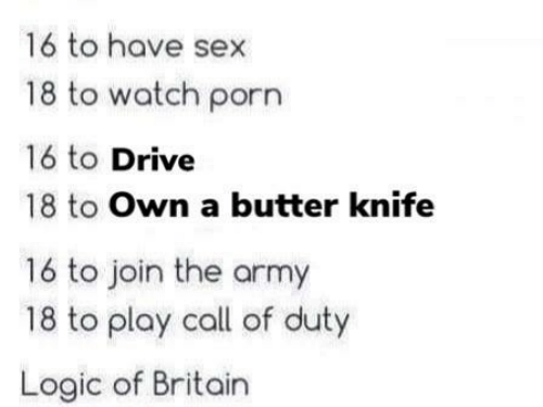 Call of Duty: 16 to have sex  18 to watch porn  16 to Drive  18 to Own a butter knife  16 to join the army  18 to play call of duty  Logic of Britain