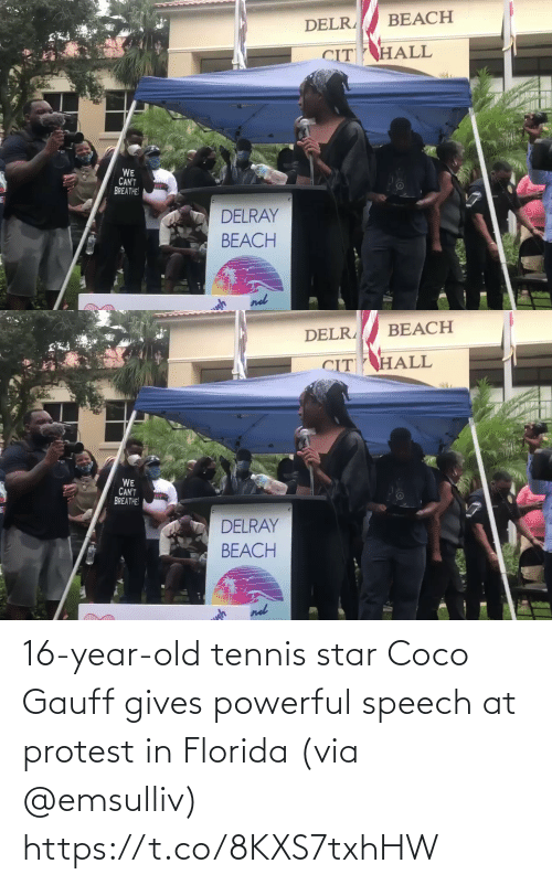 Speech: 16-year-old tennis star Coco Gauff gives powerful speech at protest in Florida (via @emsulliv) https://t.co/8KXS7txhHW