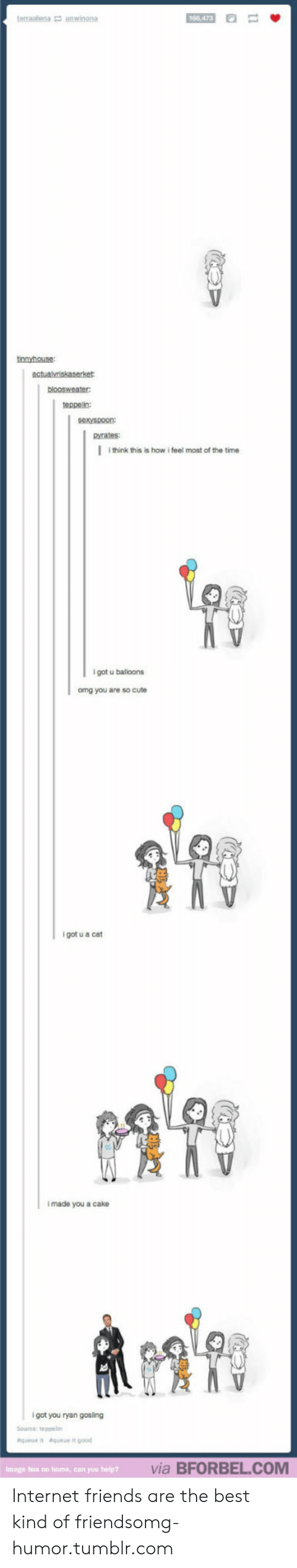 """Cute, Friends, and Internet: 166 473  tnnvhouse  teppelin:  sexyspoon  pyrates   i think this is how i feel most of the time  l got u balloons  omg you are so cute  i got u a cat  I made you a cake  i got you ryan gosing  Source:teppelin  &queue i""""  &queue it good  via BFORBEL.COM  Image has no home, can you Internet friends are the best kind of friendsomg-humor.tumblr.com"""