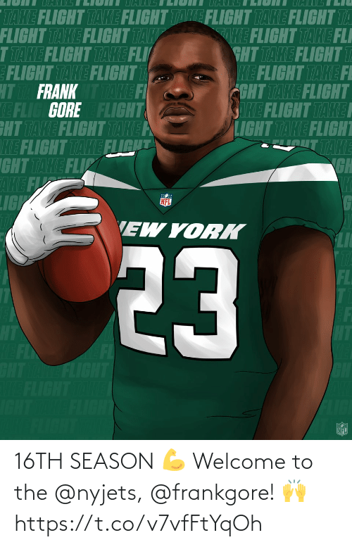 welcome: 16TH SEASON 💪  Welcome to the @nyjets, @frankgore! 🙌 https://t.co/v7vfFtYqOh