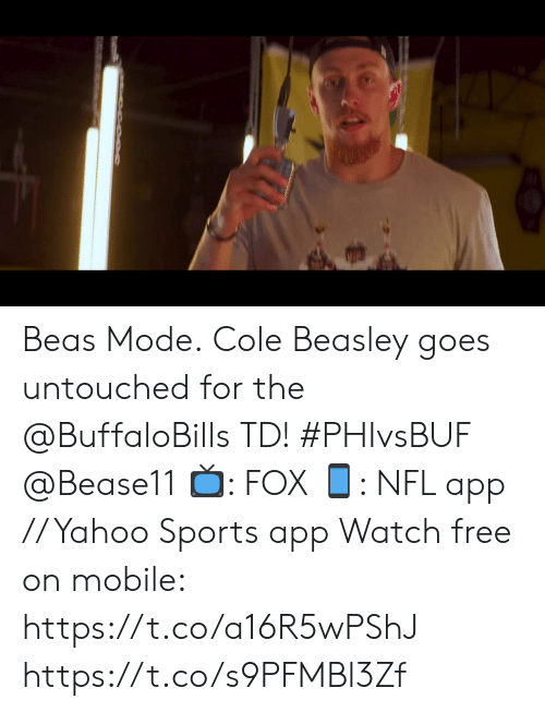 Philadelphia Eagles, Memes, and Nfl: 17  FOX NFL  TH  10  20  04  SRD&&UA  20  Current Drive  Plays 9 Yards 61 3:44  33  0  EAGLES  BILLS  2nd 14:54  04  3rd &Goal  3-4  5-1  SCORES  LAC Beas Mode.  Cole Beasley goes untouched for the @BuffaloBills TD! #PHIvsBUF @Bease11  📺: FOX 📱: NFL app // Yahoo Sports app Watch free on mobile: https://t.co/a16R5wPShJ https://t.co/s9PFMBl3Zf