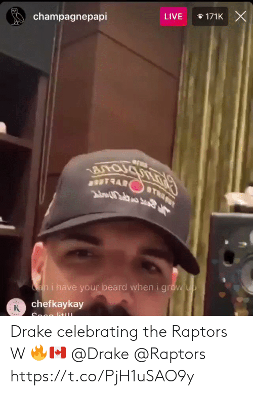 I Have Your: 171K X  champagnepapi  LIVE  an i have your beard wheni grow up  chefkaykay  К  Soon lit Drake celebrating the Raptors W 🔥🇨🇦 @Drake @Raptors https://t.co/PjH1uSAO9y