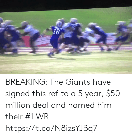 Sports, Giants, and Him: 18 BREAKING: The Giants have signed this ref to a 5 year, $50 million deal and named him their #1 WR https://t.co/N8izsYJBq7