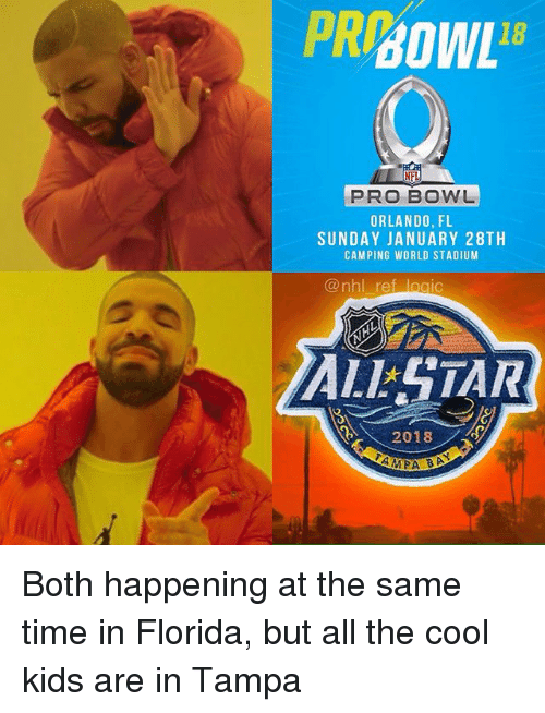 The Cool Kids: 18  PRO BOWL  ORLANDO, FL  SUNDAY JANUARY 28TH  CAMPING WORLD STADIUM  @nhl ref logic  ALSTAR  2018 Both happening at the same time in Florida, but all the cool kids are in Tampa