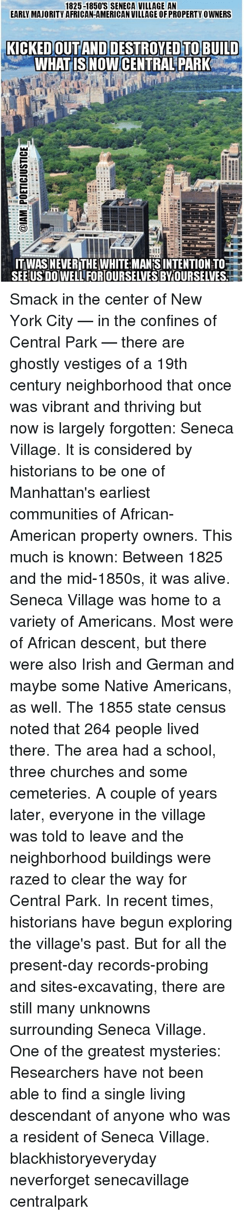 african americans finds refuge in the seneca village The first us census count in 1790 included slaves and free african-americans survivors had to take refuge in finds cast serious doubt on the bering.
