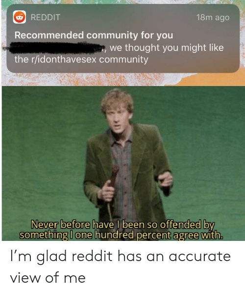 Recommended: 18m ago  REDDIT  Recommended community for you  we thought you might like  the r/idonthavesex community  Never before have I been so offended by  something I one hundred percent agree with. I'm glad reddit has an accurate view of me