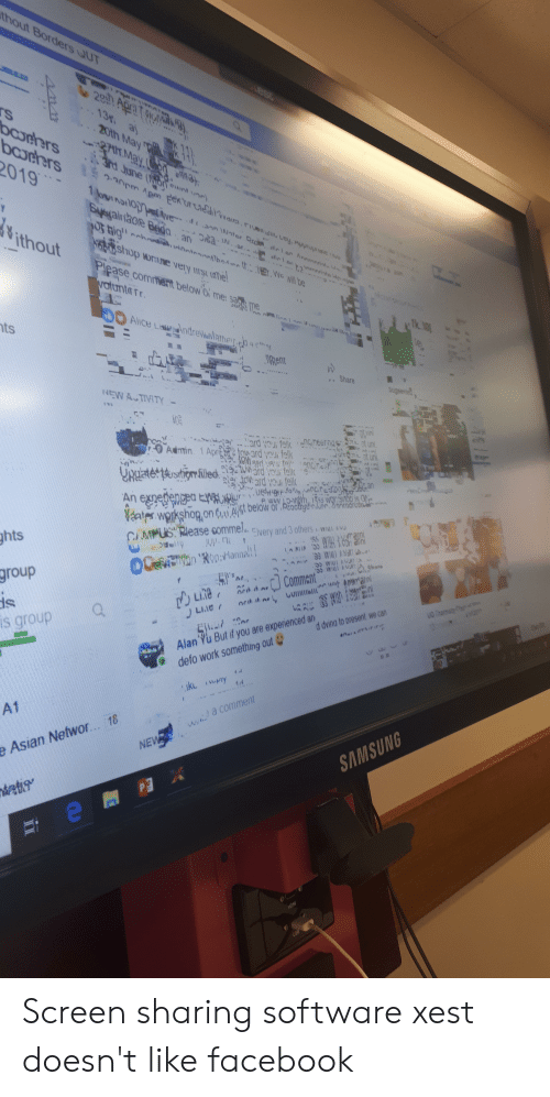 Asian, Facebook, and Work: 19  ts  Rent  ats wgkshog.on olAit w  hts  group  is group  Cen  MPUS Rlease comme.  Alan Yu But if you are  defo work something out  d dvina to present we can  A1  e Asian Networ... 18 Screen sharing software xest doesn't like facebook