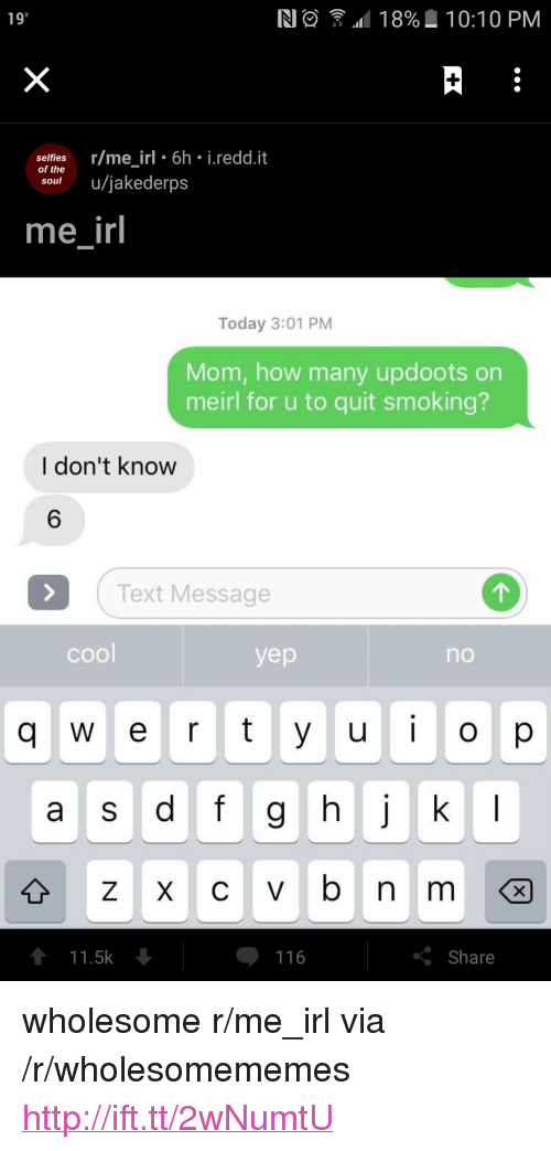 """Updoots: 190  N  .d11 8%  10:10 PM  selfies r/me irl 6h i.redd.it  of the  souu/jakederps  me irl  Today 3:01 PM  Mom, how many updoots orn  meirl for u to quit smoking?  I don't know  6  Text Message  cool  yep  no  UO  a s df g  111.5k  116  Share <p>wholesome r/me_irl via /r/wholesomememes <a href=""""http://ift.tt/2wNumtU"""">http://ift.tt/2wNumtU</a></p>"""
