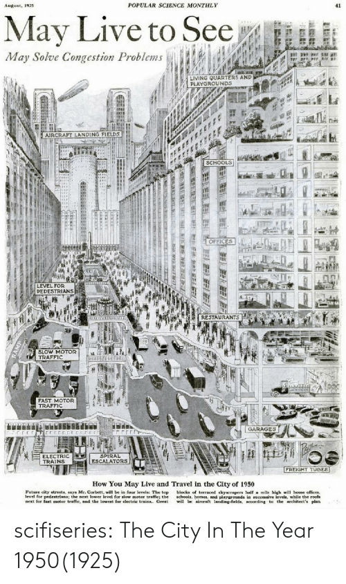 Freight: 192  POPULAR SCIENCE MONTHLY  41  May Live to See  May Solve Congestion Problems  LIVING UARTERS AND  PLAYGROUNDS  AIRCRAPT LANDING FIELDS  SCHOOLS  OFFICES  LEVEL FOR  PEDESTRIANS  ft . RESTAURANTS  SLOW MOTOR  TRAFFIC  FAST MOTOR  TRAFFIC  GARAGES  ELECTRIC  TRAINS  SPIRAL  ESCALATORS  FREIGHT TUBES  How You May Live and Travel in the City of 1950  Future city streets, says Mr. Corbett, will be in four levels: The top blocks of terraced skyscrapers half a mile high wi house offices,  level for pedestrians; the next lower level for slow motor traffic; the schools, homes, and playgrounds in successive levels, while the roofs  next for fast motor traffic, and the lowest for electric trains. Great il bc aircraft landing-fields, according to the architect's plan scifiseries:  The City In The Year 1950(1925)
