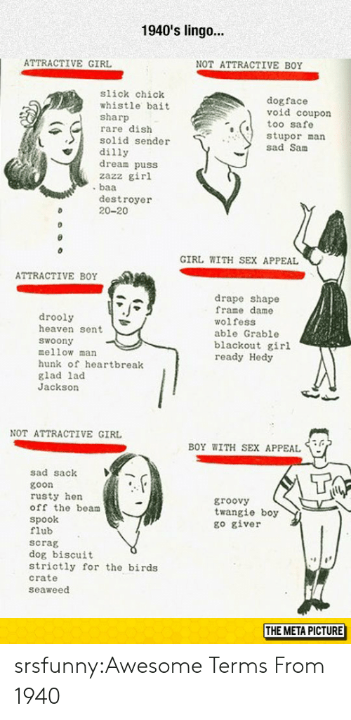 Heaven, Sex, and Slick: 1940's lingo...  ATTRACTIVE GIRL  NOT ATTRACTIVE BOY  slick chick  whistle bait  sharp  rare dish  solid sender  dilly  dream puss  zazz girl  dogface  void coupon  too safe  stupor man  sad Sanm  destroyer  20-20  GIRL WITH SEX APPEAL  ATTRACTIVE BOY  drooly  heaven sent  woony  mellow man  hunk of heartbreak  glad lad  Jackson  drape shape  frame dame  wolfess  able Grable  blackout girl  ready Hedy  NOT ATTRACTIVE GIRL  BOY WITH SEX APPEAL  sad sack  goon  rusty hen  off the beam  Spook  flub  scrag  dog biscuit  strictly for the birds  crate  seaweed  groovy  twangie boy  go giver  THE META PICTURE srsfunny:Awesome Terms From 1940