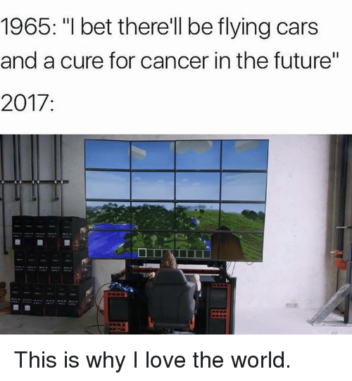 """Cars, Future, and I Bet: 1965: """"I bet therell be flying cars  and a cure for cancer in the future""""  2017 This is why I love the world."""