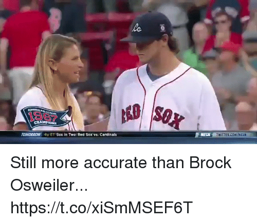 Football, Nfl, and Sports: 1967  MESN  TOMORROW  4ET Sox in Two: Red Sox v. Cerdinals Still more accurate than Brock Osweiler... https://t.co/xiSmMSEF6T