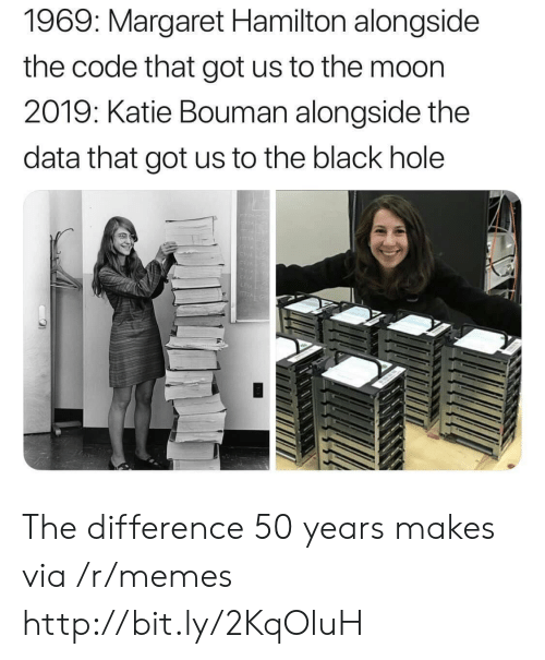 Memes, Black, and Http: 1969: Margaret Hamilton alongside  the code that got us to the moon  2019: Katie Bouman alongside the  data that got us to the black hole The difference 50 years makes via /r/memes http://bit.ly/2KqOluH