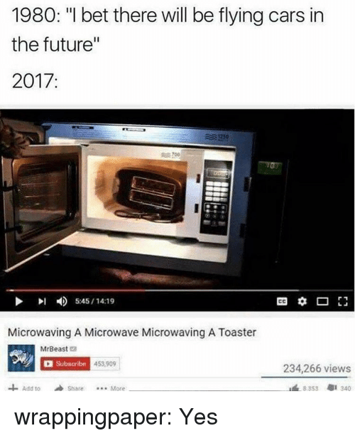 """Cars, Future, and I Bet: 1980: """"I bet there will be flying cars in  the future""""  2017:  川  4)  5:45 / 14:19  Microwaving A Microwave Microwaving A Toaster  MrBeast e  Subscribe  453.909  234,266 views  Add toShare..More  8353  1 340 wrappingpaper:  Yes"""